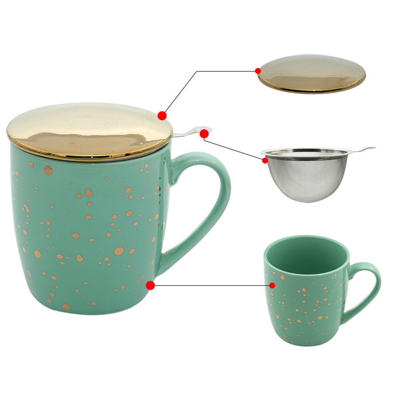 Pastel Green & Gold Bone China Tea & Coffee Mug, with Infuser & Lid (350ml)