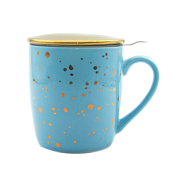 Pastel Blue & Gold Porcelain Tea & Coffee Mug, with Infuser & Lid
