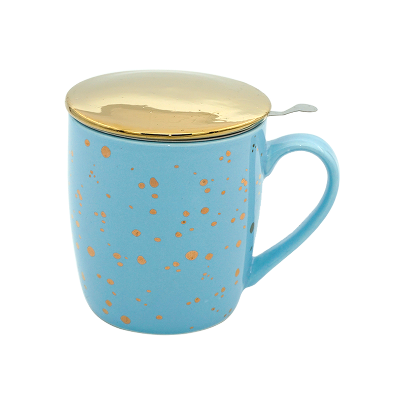 Pastel Blue & Gold Bone China Tea & Coffee Mug, with Infuser & Lid (350ml)