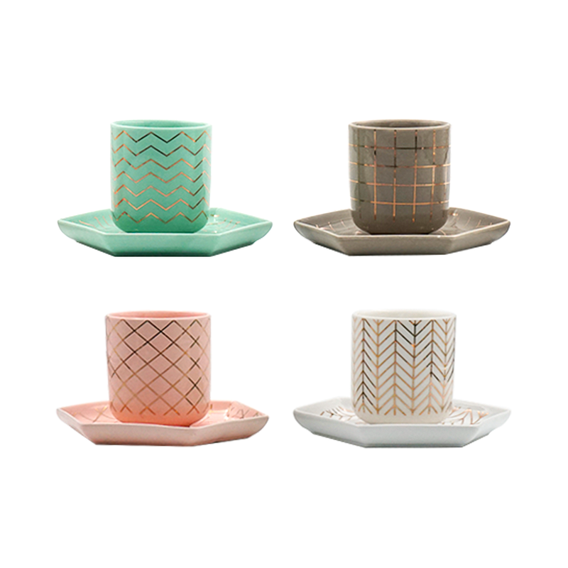 Set of 4, Assorted Bone China Mini Cup and Saucer Set, Pink, Green, White & Grey (80 ml)