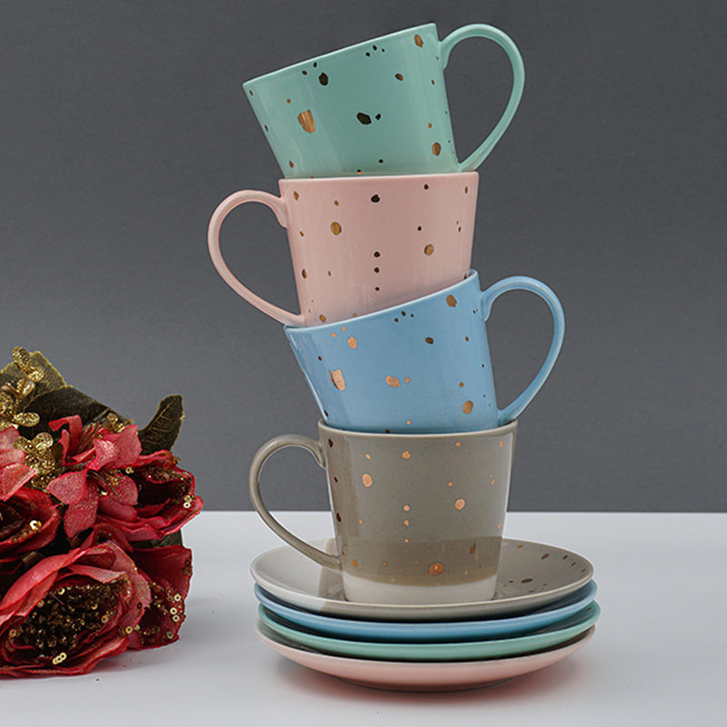 The Spotless Bone China Cup & Saucer, Set of 4  (Pink, Blue, Green & Grey) 160 ml