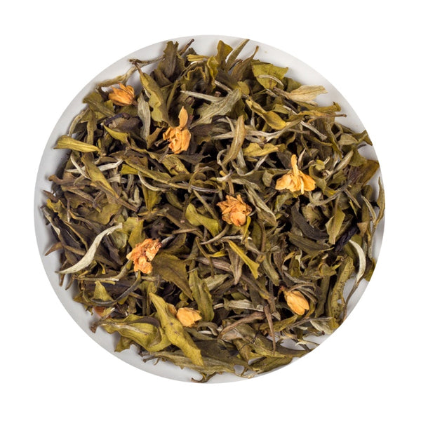 Indian Organic Jasmine White Jasmine loose Leaf Tea Tin, 75G