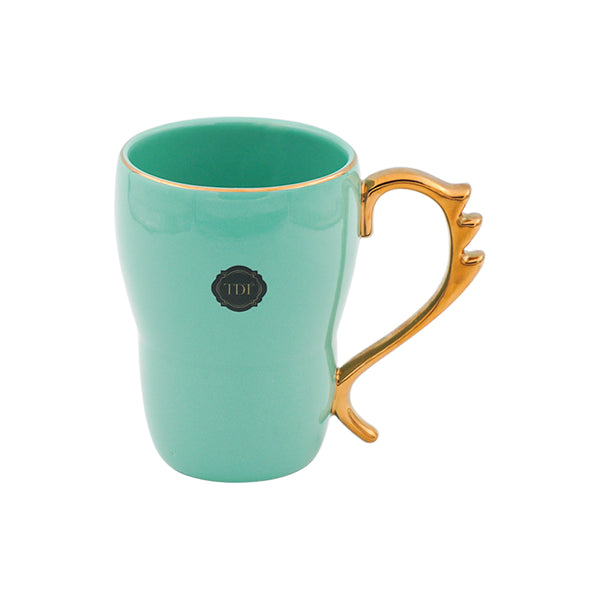 Bold & Bright Green Mug (500ml) with Designer Golden Handle