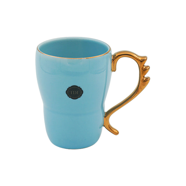 Bold & Bright Blue Mug (500ml) with Designer Golden Handle