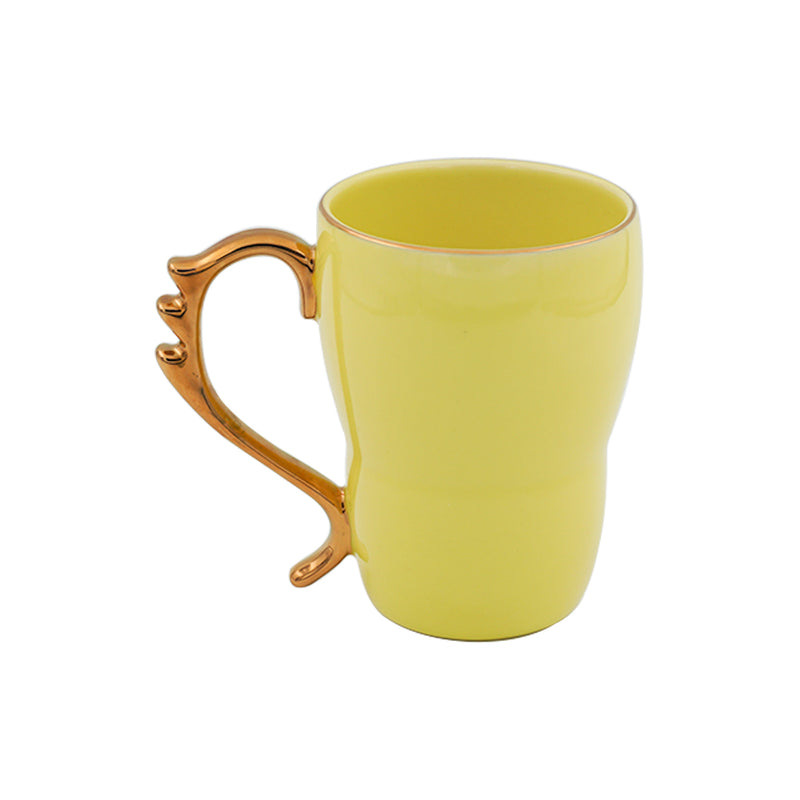 Bold & Bright Yellow Mug (500ml) with Designer Golden Handle