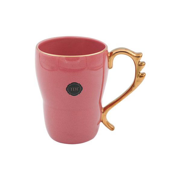 Bold & Bright Pink Mug (500ml) with Designer Golden Handle
