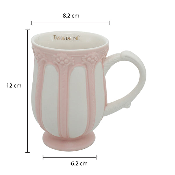 Decorative Vintage Porcelain Pink & White, Tea & Coffee Mug (320ml)