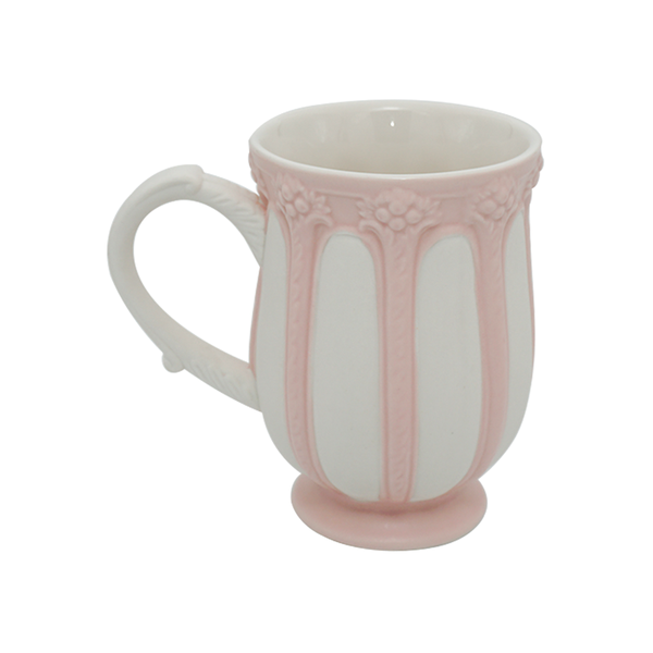 Decorative Vintage Porcelain Pink & White, Tea & Coffee Mug