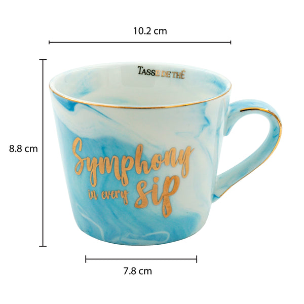 Symphony in Every Sip, Bone China Blue Marble Finish Mug (300ml)