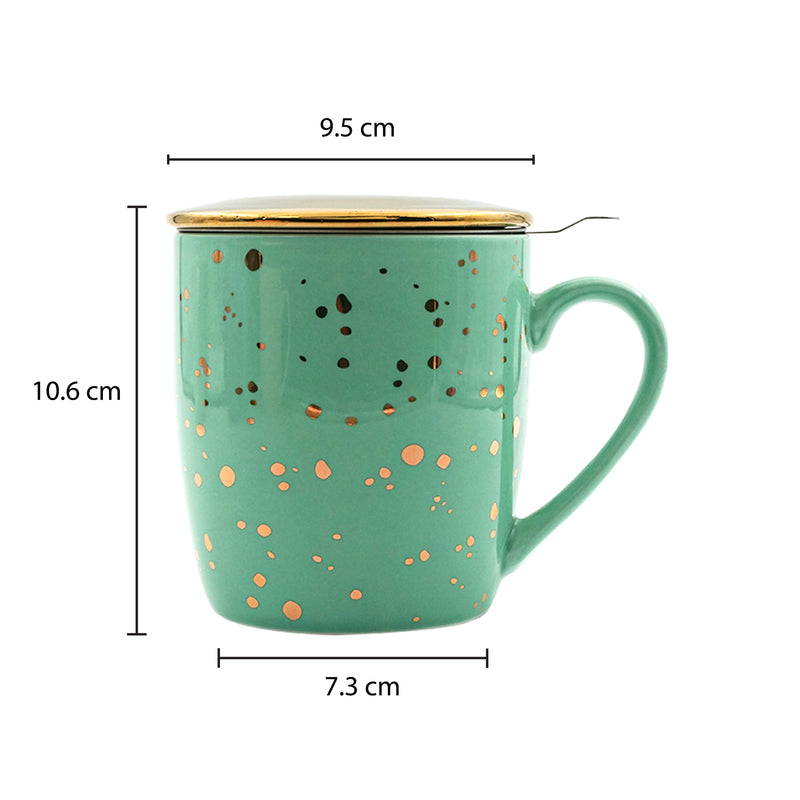 Pastel Green & Gold Porcelain Tea & Coffee Mug, with Infuser & Lid (350ml)