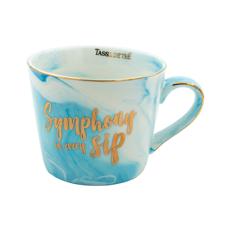 Symphony in Every Sip, Porcelain Blue Marble Finish Mug