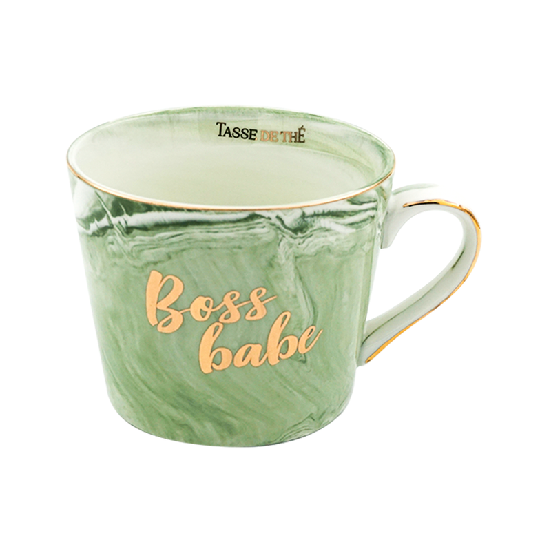 Boss Babe, Bone China Green Marble Finish Mug (300ml)
