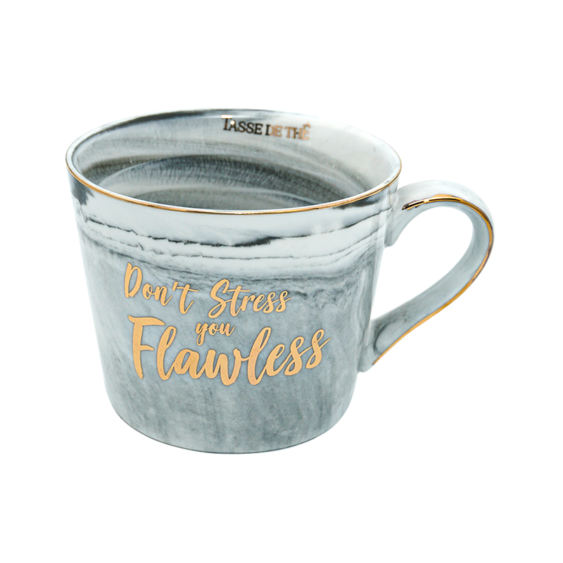 Don't Stress You Flawless, Bone China Grey Marble Finish Mug (300ml)