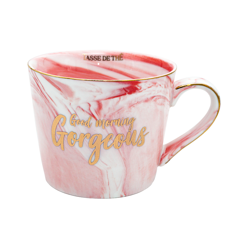 Good Morning Gorgeous, Bone China Pink Marble Finish Mug (300ml)