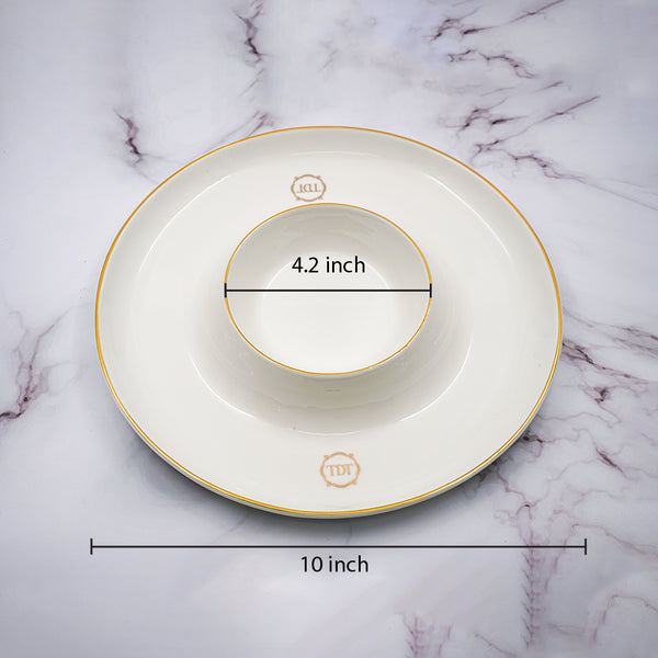 Set of 1, Elegant Porcelain White Appetizer & Dip Space Plate with golden line