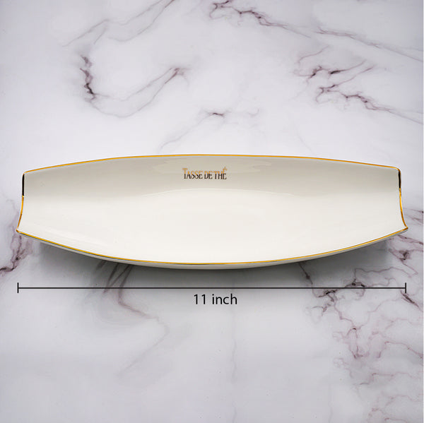 Set of 1, Elegant Porcelain White Boat Shaped Appetizers plate with golden line