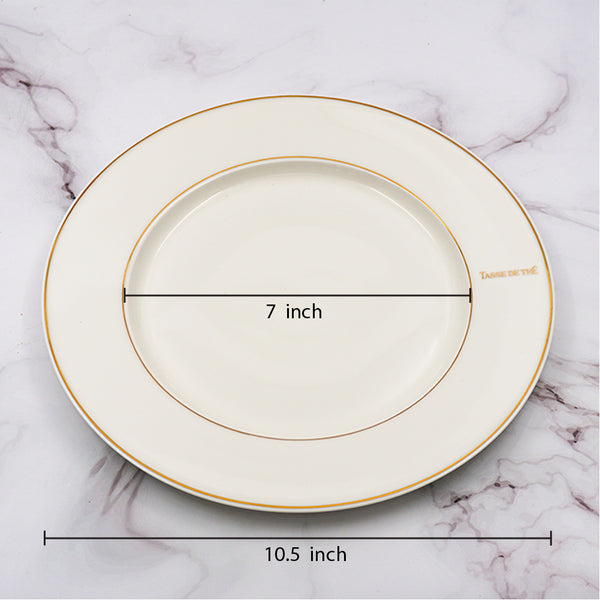 "Set of 4, Elegant Bone China White 10.5"" Dinner Plate with Gold Line"