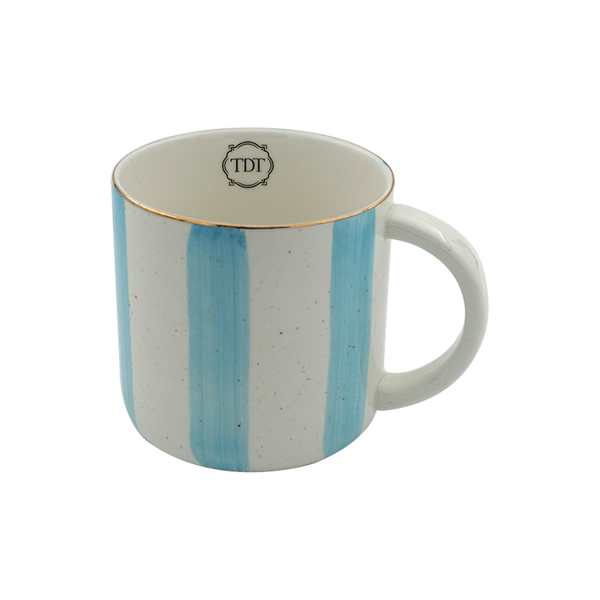 Elegant Porcelain Big Blue Stripes, Tea & Coffee Mug (300ml)