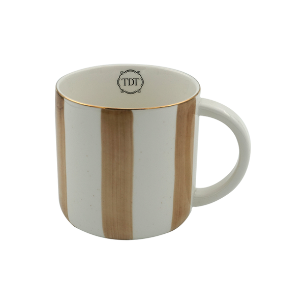 Elegant Porcelain Big Beige Stripes, Tea & Coffee Mug (300ml)
