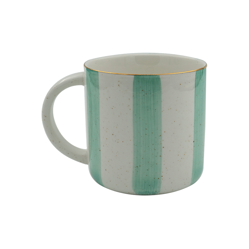 Elegant Porcelain Big Green Stripes, Tea & Coffee Mug (300ml)