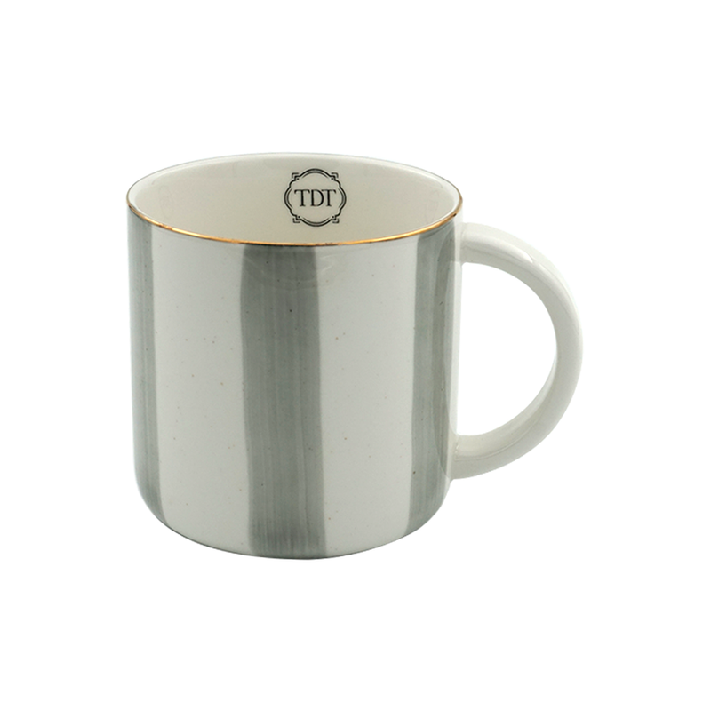 Elegant Porcelain Big Grey Stripes, Tea & Coffee Mug (300ml)