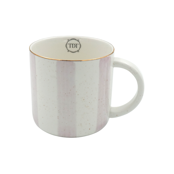 Elegant Porcelain Big Pink Stripes, Tea & Coffee Mug (300ml)