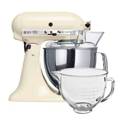 KitchenAid Artisan Stand Mixer Almond Cream with Free Glass Bowl (worth £85)