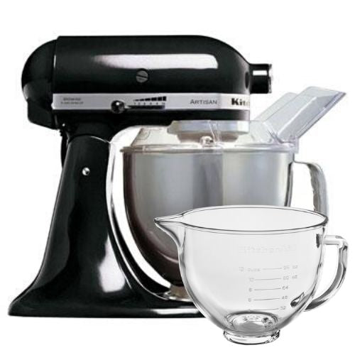 KitchenAid Artisan Stand Mixer Onyx Black with Free Glass Bowl (worth £85)