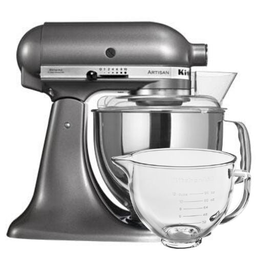 KitchenAid Artisan Stand Mixer Contour Silver with Free Glass Bowl (worth £85)