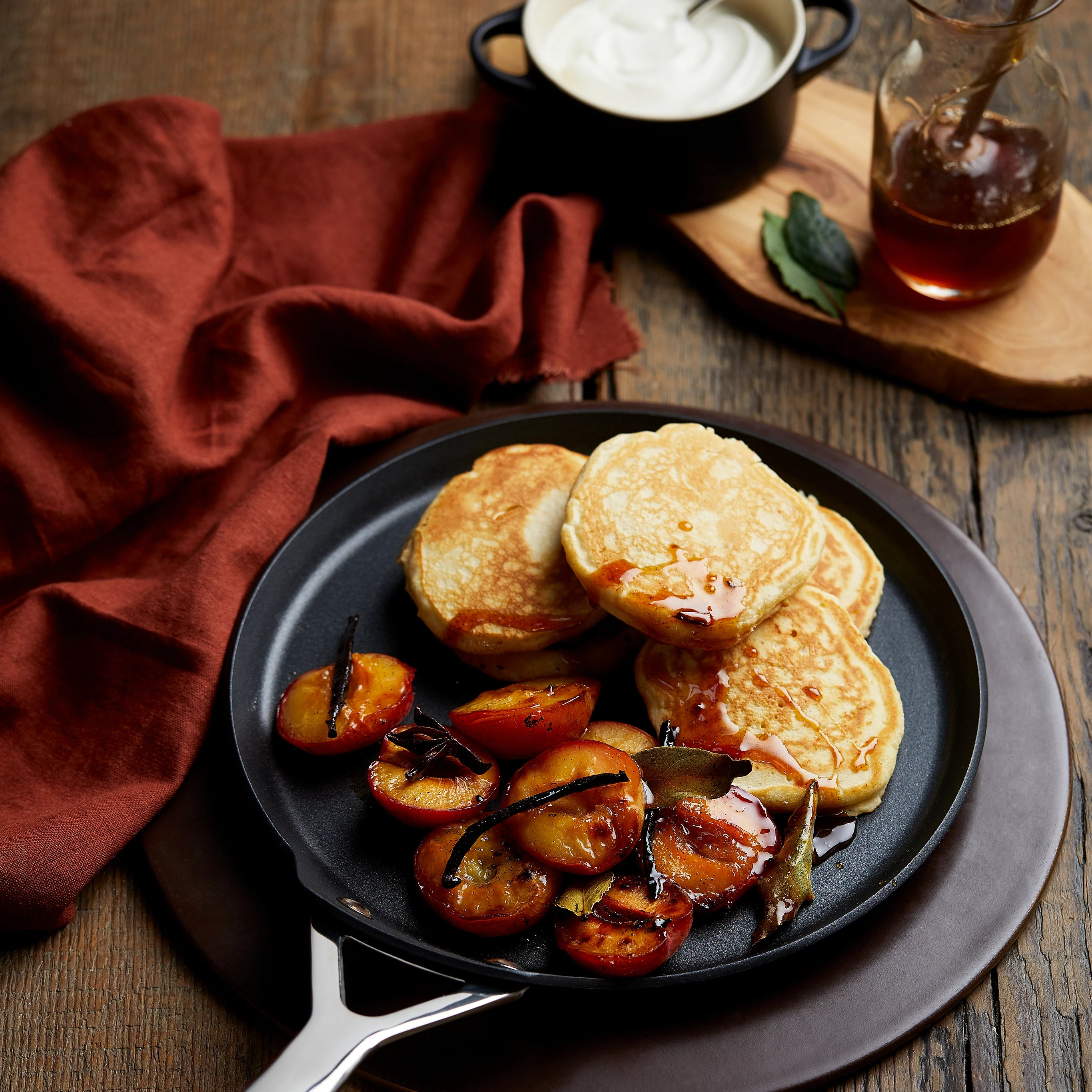 Drop Scones with Roasted Plums and Honey
