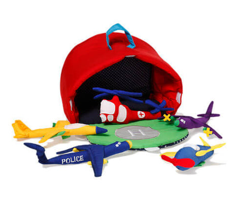 Oskar & Ellen airplane hangar playbag from Gwen & Friends