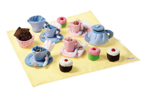 Oskar + Ellen blue & yellow 32 piece tea set