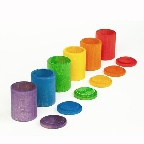 Grapat | 6 Coloured Cups With Cover - Alex and Moo