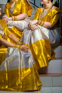 Radient Golden Yellow Colored Blouse Soft Silk Fancy Partywear Functional Saree