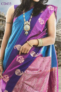 Multi Colored Traditional Silk Saree With Blouse For Women