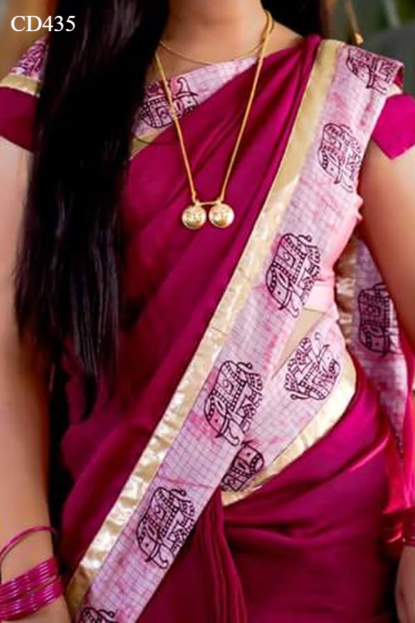 Pink Colored Traditional Silk Saree With Blouse For Women