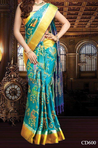 Turqouise Colored Traditional Silk Saree With Blouse For Women