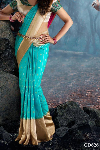 Cyan Colored Traditional Silk Saree With Blouse For Women