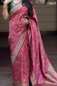 Gajari Pink Colored Traditional Silk Saree With Blouse For Women