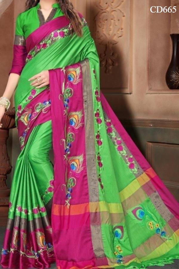 Green N Pink Colored Traditional Silk Saree With Blouse For Women
