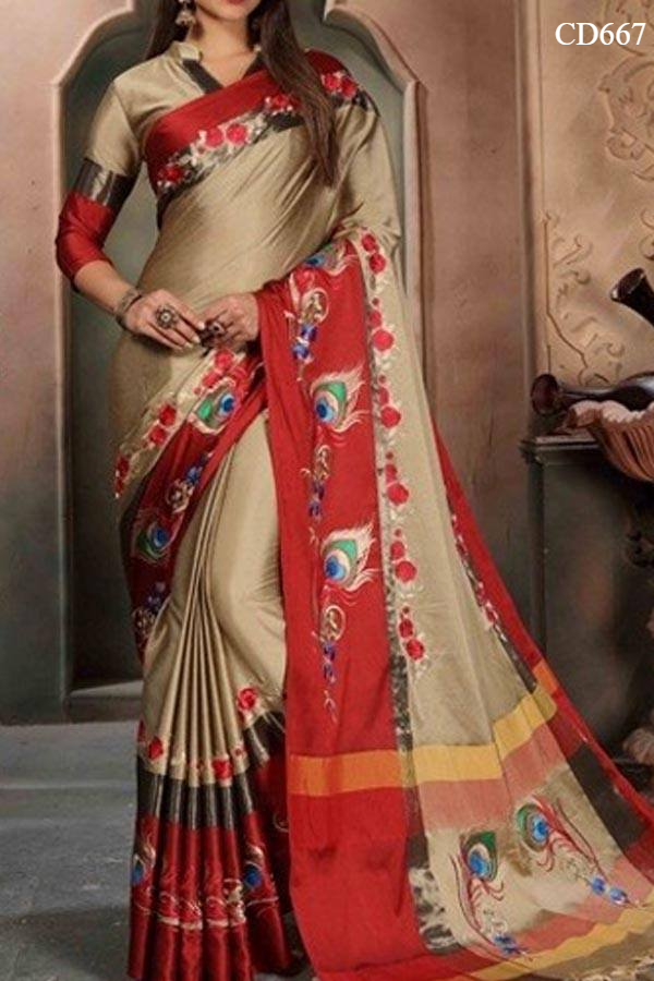 Beige N Red Colored Traditional Silk Saree With Blouse For Women