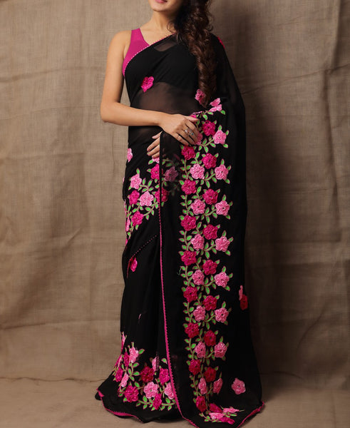 Beautiful Pink & Black Colored Festive Wear Designer Saree