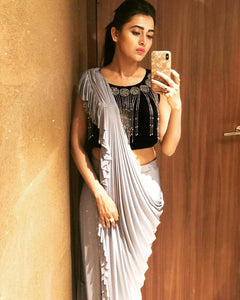 Women Grey Embellished Saree