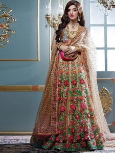 Eye-Catching Beige Colored Taffeta Silk Embroidered Partywear Lehenga Choli With Dupatta - LC70