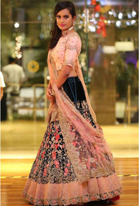 Adorable Peach-Blue Color Bangalory Silk&Taffeta Silk Indian Latest Designer Bridal Lehenga Choli