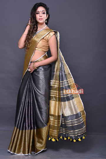 CareWare Grey And Gold Pure Linen Designer Saree