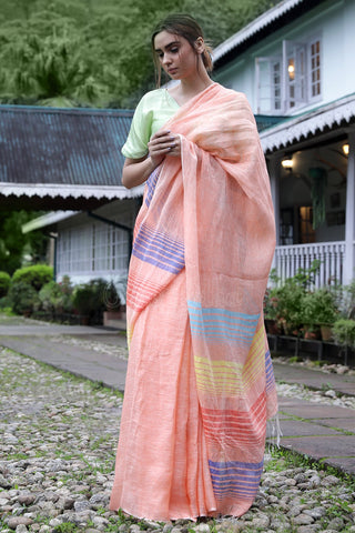 Adarshini Peach Casual Printed Pure Linen Saree
