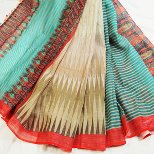 Aanya Rama And Cream Colored Festive Wear Pure Linen Saree