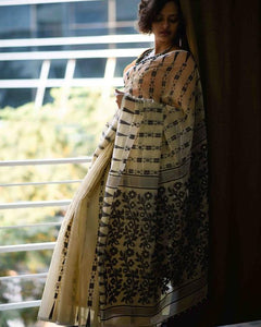 Elegant Cream Colored Party Wear Printed Pure Linen Saree