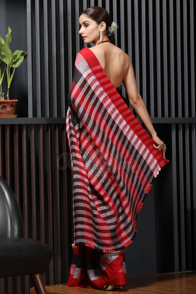 Exquisite Red & Black Colored Festive Printed Pure Linen Saree